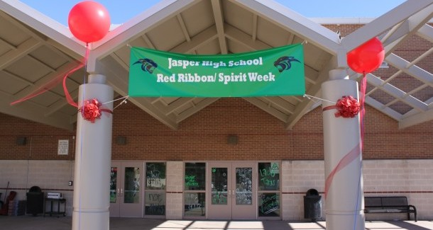 Jasper Spirit Week Banner on School